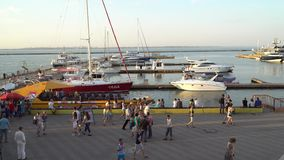 Parking yachts. People walk on the pier stock video