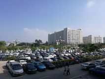 The parking yield parked with vehicles in Shenzhen Stock Images