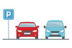 Parking z dwa samochodami na białym tle Obrazy Royalty Free