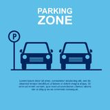 Parking Zone blue background. Vector Illustration. Stock Photo