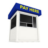 Parking Zone Booth with Pay Here Sign. 3d Rendering Royalty Free Stock Images