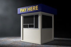 Parking Zone Booth with Pay Here Sign in the volumetric light. 3 Royalty Free Stock Image