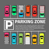 Parking Zone Conceptual Web Banner. Vector. Parking zone conceptual web banner. Parking place sign symbol. Parking lot or car park. City parking structure Stock Image