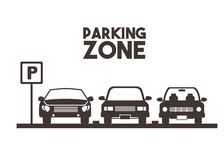 Parking zone design. Parked cars in a parking zone over white background. illustration stock illustration