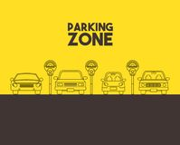 Parking zone design. Parked cars in a parking zone over yellow background.  illustration Stock Photography