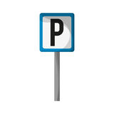 Parking zone design. Parking zone road sign icon over white background. colorful design.  illustration Stock Images