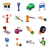 Parking zone set icons in cartoon style. Big collection of parking zone vector symbol stock illustration Royalty Free Stock Photography