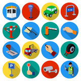 Parking zone set icons in flat style. Big collection of parking zone vector symbol stock illustration Stock Images