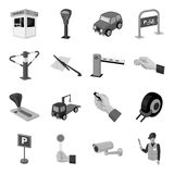 Parking zone set icons in monochrome style. Big collection of parking zone vector symbol stock illustration Stock Photo