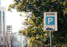 Parking zone sign in city. Parking zone sign in the city royalty free stock photos