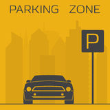 Parking zone sign. Yellow and black parking zone simple illustration. Sport car on skyscrapers background near parking sign Stock Image