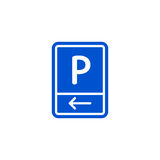 Parking zone to left roadsign isolated Stock Photo