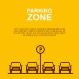 Parking Zone yellow background. Vector Stock Photos