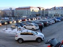 Parkinglot Bageriet - Hudiksvall stock fotografie