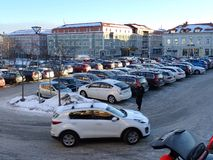 Parkinglot Bageriet - Hudiksvall. Parkinglot in the center of Hudiksvall - Sweden stock photography