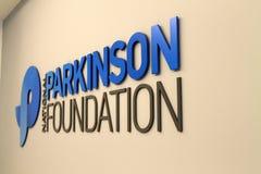 Parkinson foundation. National parkinson foundation sign on office wall. Miami, Florida Stock Photos