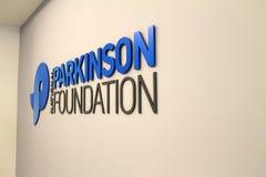 Parkinson foundation. National parkinson foundation sign on office wall. Miami, Florida Stock Photo