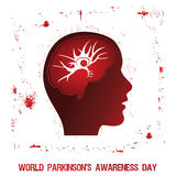 Parkinson`s disease Awareness Poster. An abstract illustration of Parkinson`s disease with a single neuron and an abnormal protein structure in brain vector illustration
