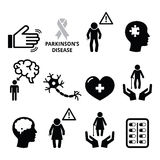 Parkinson's disease, senior's health icons set Royalty Free Stock Photography