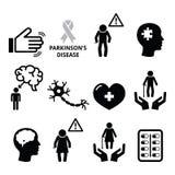 Parkinson's disease, senior's health icons set Royalty Free Stock Photography