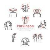 Parkinson`s disease. Symptoms, Treatment. Line icons set. Vector signs.