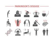 Parkinson`s disease. Symptoms, Treatment. Flat icons set. Vector signs for web graphics. Royalty Free Stock Photography