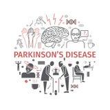 Parkinson-` s Krankheit Symptome, Behandlung Linie Ikonen eingestellt Vektorzeichen lizenzfreie abbildung