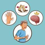 Parkinsons disease cartoon vector illustration