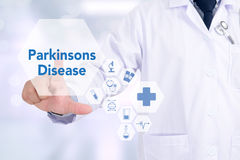 Parkinsons Disease. Medicine doctor working with computer interface as medical Stock Photo