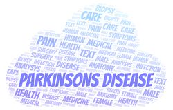 Parkinsons Disease word cloud. Wordcloud made with text only royalty free illustration