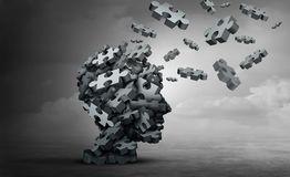 Parkinsons Disorder Degenerative Dideade. Parkinson disease and parkinson`s disorder symptoms as a human head made of crumpled paper with a missing jigsaw puzzle royalty free illustration