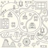 Parkkarte in der Entwurfsdesignart Vektor Stockfotos
