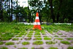Parkkegel im grünen Parkzonenhintergrund Lizenzfreie Stockfotos