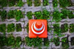 Parkkegel im grünen Parkzonenhintergrund Lizenzfreies Stockbild