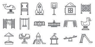 Parkkinderspielplatz-Ikonensatz, Entwurfsart lizenzfreie abbildung