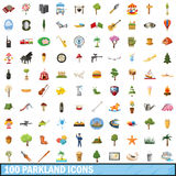 100 parkland icons set, cartoon style. 100 parkland icons set in cartoon style for any design vector illustration Royalty Free Stock Photos