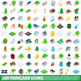 100 parkland icons set, isometric 3d style. 100 parkland icons set in isometric 3d style for any design vector illustration Stock Image