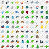 100 parkland icons set, isometric 3d style Stock Photos