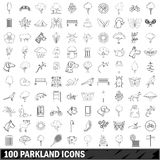 100 parkland icons set, outline style Stock Photography