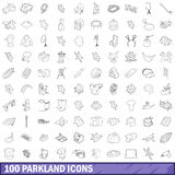100 parkland icons set, outline style. 100 parkland icons set in outline style for any design vector illustration stock illustration
