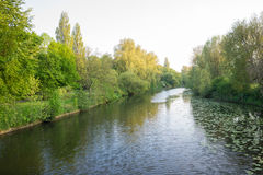 Parkland in the UK with a river running through. In autumn Stock Photos