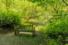 Parklandbänk, Baddesley Clinton Manor House, Warwickshire Arkivfoto