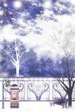 Parklandschap van een stille weekendmiddag - Grafische het schilderen textuur Stock Fotografie