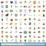 100 parklandsymboler uppsättning, tecknad filmstil Royaltyfria Foton
