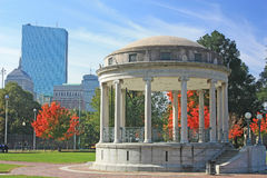 Parkman Bandstand in Boston Common. Boston Skyline  with office buildings Royalty Free Stock Photos