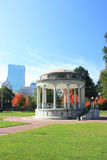 Parkman Bandstand in Boston Common. Boston Skyline  with office buildings Stock Image