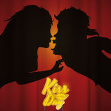 Parkontur som kysser bak gardinen och ett kyssdagtecken, vektorillustration Royaltyfri Fotografi