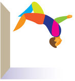 Parkour.  athlete performs a back flip Stock Photo