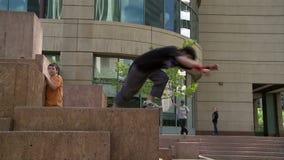 Parkour Athletes in Denver stock video footage