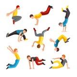 Parkour bedriegt het extreme vectorsilhouet van sportmensen Stock Fotografie